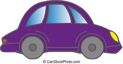 A violet car on a white background. Vector illustration.