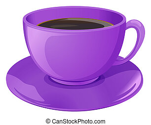 A violet cup with coffee