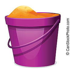 A violet pail with sand - Illustration of a violet pail with...