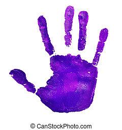 a, violett, handprint, på, a, vit fond, skildra, den, idé,...