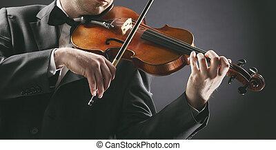 a, violinist:, músico, jogando violino, ligado, experiência...