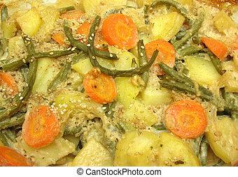 a, visão close-up, ligado, um, vegetariano, vegetal, casserole