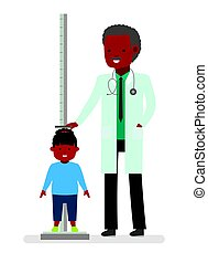 A visit to the doctor. The doctor measures the growth of the child girl patient.