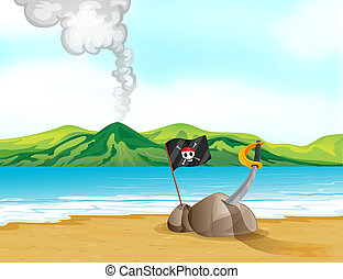A volcano in the beach - Illustration of a volcano in the...