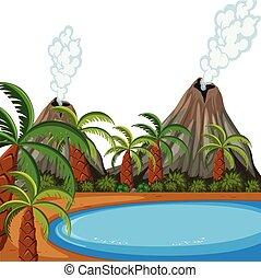 A volcano island landscape