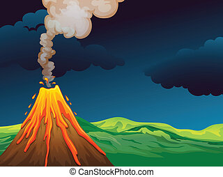 A volcano - Illustration of a volcano