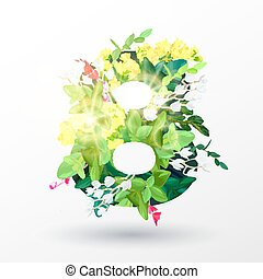 A voluminous decorative figure with an ornament from realistic flowers, branches, leaves and forest plants. Spring decorative element for the international women's day March 8. Vector illustration.