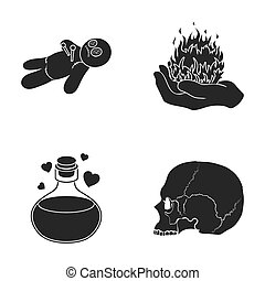 A voodoo doll, a magical fire, a love potion, a skull.Black and white magic set collection icons in black style raster,bitmap symbol stock illustration web.