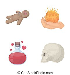 A voodoo doll, a magical fire, a love potion, a skull.Black and white magic set collection icons in cartoon style raster,bitmap symbol stock illustration web.