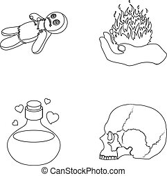 A voodoo doll, a magical fire, a love potion, a skull.Black and white magic set collection icons in outline style vector symbol stock illustration web.