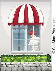 A waiter near the window