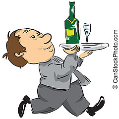 A waiter with a tray