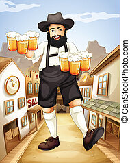 A waiter with glasses of cold beers