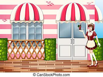 A waitress near the entrance door