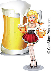 A waitress with six mug of cold beers - Illustration of a...