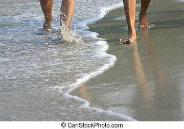 A Walk On The Beach - An image of a couple's legs walking ...