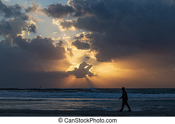 A Walk on the Beach in Sunset