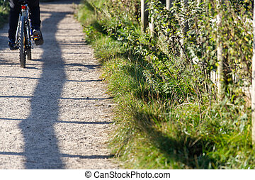 A walking and cycling path in rural Birmingham, West Midlands