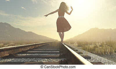 A walking girl on the railway under the blue sky - this is a...