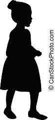a walking girl silhouette