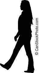 a walking girl silhouette vector