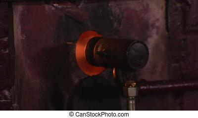 A wall and a fire shot - A medium shot of a wall and a fire...