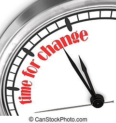 "Time For Change - A wall clock with the red text ""Time For ..."