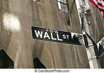 Wall Street sign in Manhattan New York