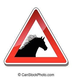 A warning sign horse