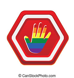 lgbt - a warning stop signal with a colored lgbt hand