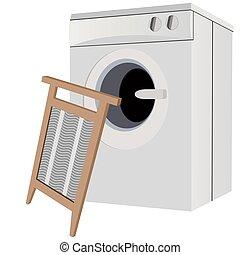 A washing machine and a washboard