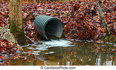 A waste water drainage pipe redirecting water and polluting the environment as well