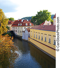 A water mill on a river in Prague