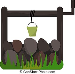 A water well vector or color illustration - In olden days...