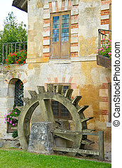 A water wheel at the Queen's Hamlet, Marie Antoinette's village at Versailles, France