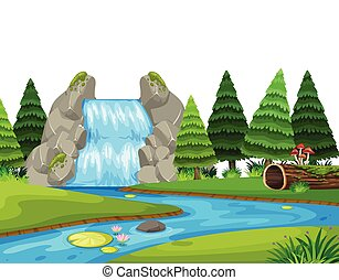 A waterfall nature landscape illustration