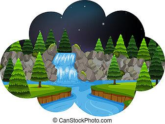 A waterfall scene at night