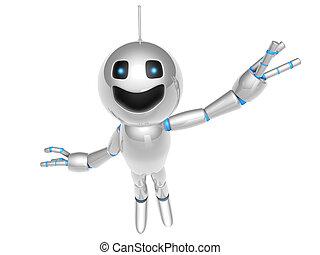 A waving cartoon Robot