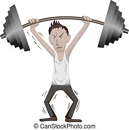 workout - a weak man workout on white background