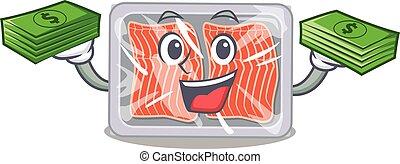 A wealthy frozen salmon cartoon character having money on hands
