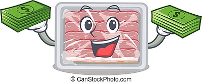 A wealthy frozen smoked bacon cartoon character having money on hands