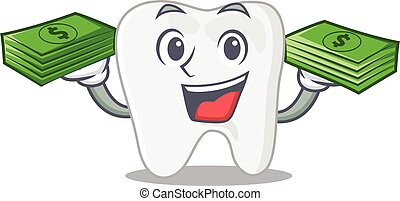 A wealthy tooth cartoon character with much money