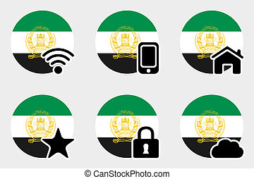 Web Icon Set with the Flag of Afghanistan