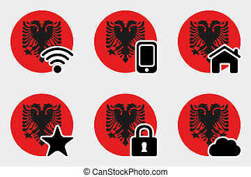 Web Icon Set with the Flag of Albania