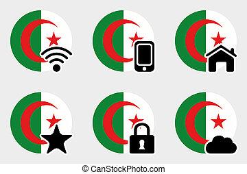 Web Icon Set with the Flag of Algeria