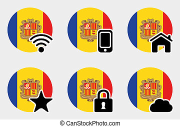 Web Icon Set with the Flag of Andorra