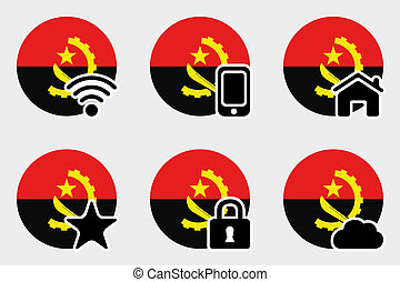 Web Icon Set with the Flag of Angola