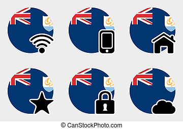 Web Icon Set with the Flag of Anguilla