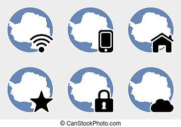 Web Icon Set with the Flag of Antartica