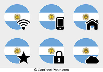 Web Icon Set with the Flag of Argentina